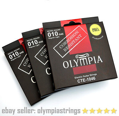 3 SETS - Olympia CTE-1046 Electric Guitar Strings Corrosion Resistant - Gauge 10