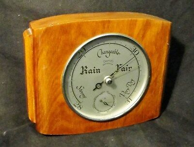"""1930s ART DECO BAROMETER by """"SMITHS"""" in a WALNUT CASE invgc"""