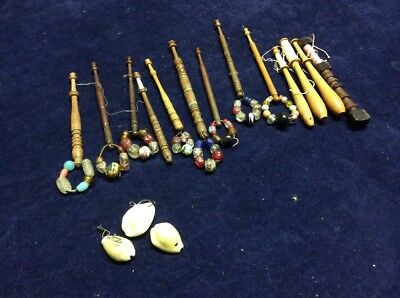 13 Antique Vintage Wooden Turned Lace Bobbins Glass Beads