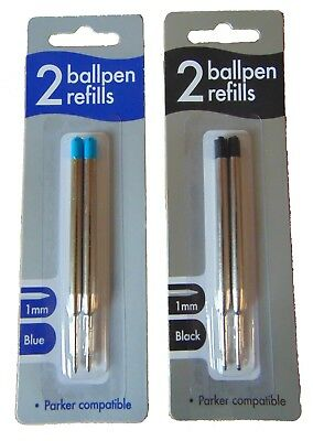 Blister Pack 2 Ballpoint Pen Refills Parker Compatible Black Or Blue Ink