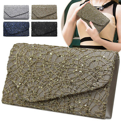 Fashion Ladies Sequin Evening Clutch Bag Wedding Party Prom Envelope Handbag