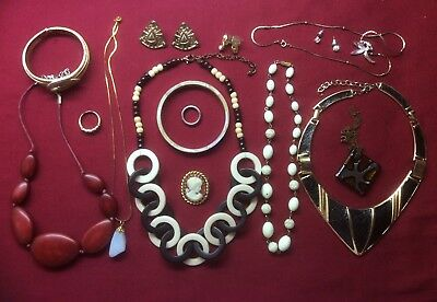Job Lot  Art Deco Vintage Jewellery-Brooch,necklace,collar,earrings,pendant,ring
