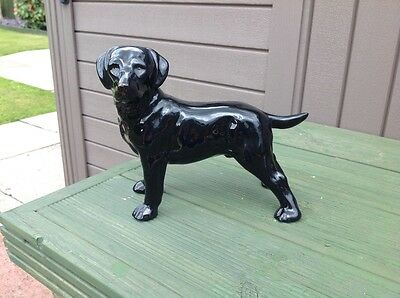 Beautiful BLack labrador pottery dog in a commanding pose - vgc