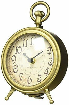 NIKKY HOME Metal Small Vintage Table Clock Decorative with Pocket Watch Shape Di