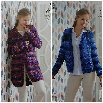 KNITTING PATTERN Ladies Lace Long Coat & Cardigan Corona Chunky King Cole 4994