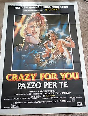 HUGE Crazy For You - Vision Quest 2 Panel Italian Movie Poster Featuring Madonna