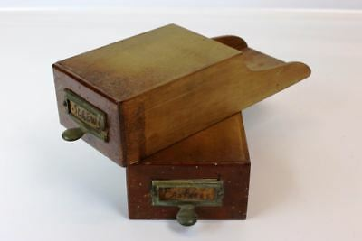 2 Antique Small Oak Bin Drawers W Brass Pulls ~ Part~Trinket~ More Available
