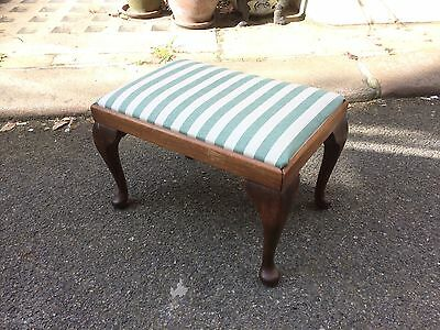 Edwardian Regency Stripe Mahogany Footstool