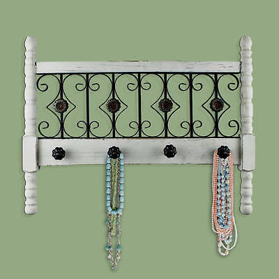Rustic Wood Metal Wall Hanging Jewelry Holder Vintage Farmhouse Decor