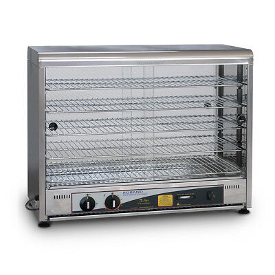 Hot Food Warmer 100 Pie, Curve Top Square Both Sides Glass Roband PW100G NEW
