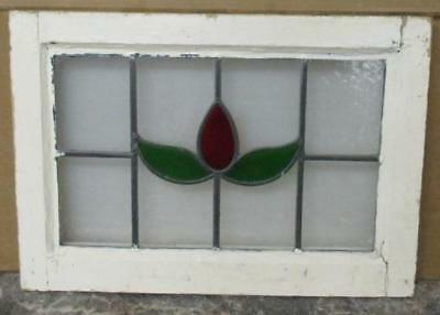 "OLD ENGLISH LEADED STAINED GLASS WINDOW Pretty, Simple Floral 20"" x 14.25"""