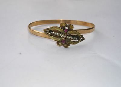 Lovely Victorian Gold Filled Ruby Seed Pearl Bypass Bracelet