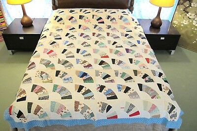 FULL Vintage All Cotton Some Feed Sack Machine Sewn GRANDMOTHER'S FAN Quilt TOP