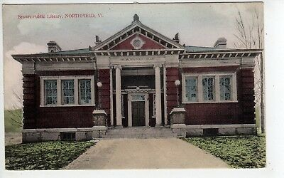 Nice c1910 Northfield Vermont, Brown Public Library, Handcolored?