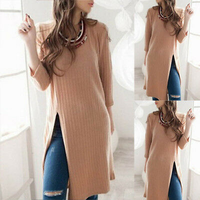 New Fashion Women Winter Casual Long Sleeve Mini Dress Pullover Sweater Knit Top