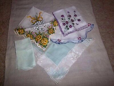 Lot of 5 Beautiful Vintage Hankies Handkerchiefs - Embroidery Lace Floral # 11