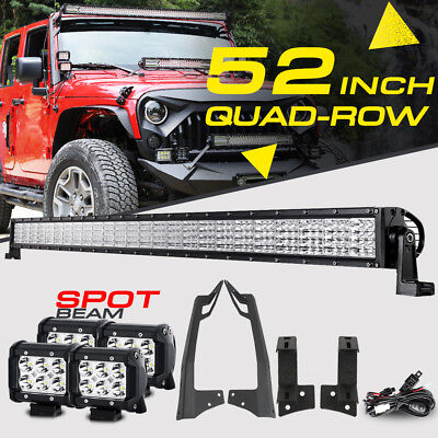"52INCH 3600W Quad-Row +4"" CREE LED Light Bar Mount Brackets For Jeep Wrangler JK"