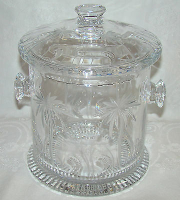 Rare William Yeoward Crystal Ice Bucket Alexis Palm Tree Pattern with Liner