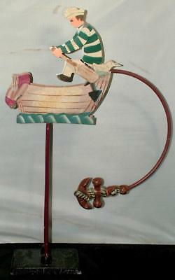 Authentic Models Nautical Sailor Rowing Row Boat Antiqued Sky Hook Balance Toy