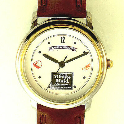Fossil Minute Maid 'Take A Minute' Gold Silver Tone Case, Leather Band Watch $69