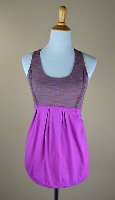 LULULEMON Racerback Stripe Purple Yoga Exercise Tank Top Size 6