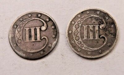 1852+1853 SILVER Three Cent Coin (3 Cent) Lot // 2 Coins  // (STL42)