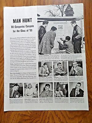1953 American Petroleum Ad Man Hunt Oil Companies Compete for the Class of '53