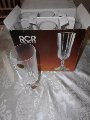 Royal Crystal Rock 6 Champagne Flutes New in Box never used