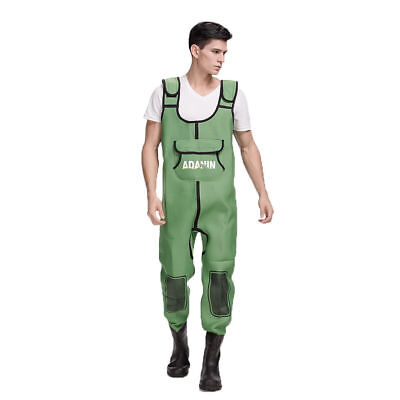Mens Green Water Resistant Breathable Fishing Waders With Attached Rubber Boots