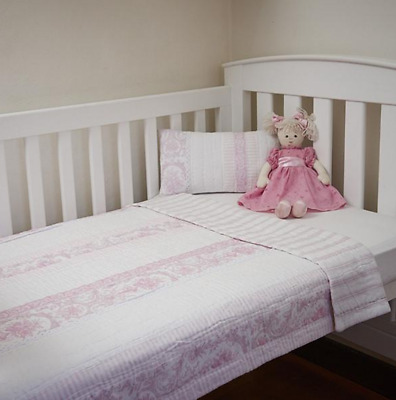 Hamptons Pink Toile & Lace Baby Girl Cot Bed Quilt Comforter Coverlet Blanket Nw