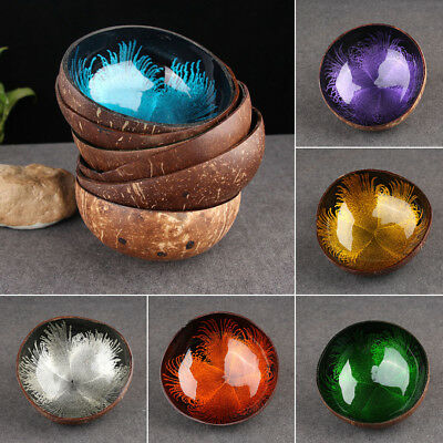 Natural Coconut Shell Bowl Dishes Mosaic Handmade Paint Craft Home Kitchen New