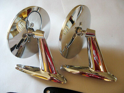 Nos 2Vintage Classic Universal Chrome  Round Head Muscle Car Side Mirrors