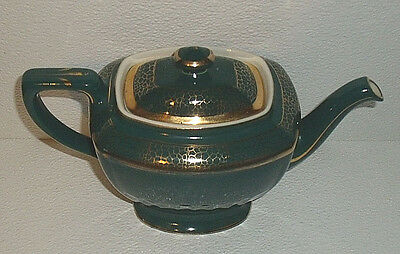 Hall China Teapot 0120 Green Gold 6 Cup Vtg