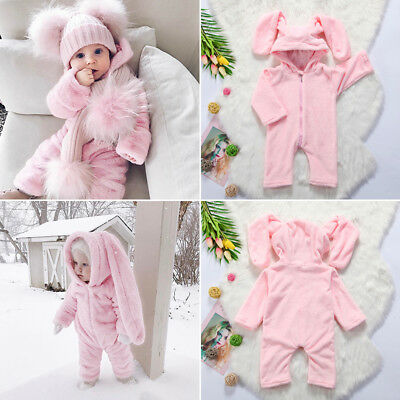 USStock Newborn Baby Girl Fleece 3D Ear Romper Jumpsuit Bodysuit Outfits Clothes