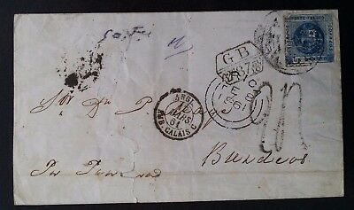 VERY RARE 1861 Peru Folded Cover ties 1D blue Coat of Arms stamps to Bordeaux