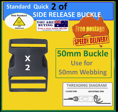 2 of 50mm (2 inch)  side release buckles - webbing quick release clip - $5.25