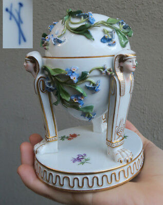 Antique Porcelain Figurine sphinx meissen inkwell forget-me-not flower Bugs ASIS