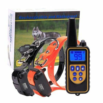 Waterproof 1000 Yard 2 Dog Shock Training Collar Pet Trainer With Remote Control
