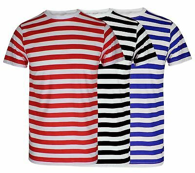 Red And White Striped Tshirt Black Blue Stripe Top Boys Mens T Shirt Book Week