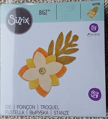 Sizzix Bigz die cuts card fabric leather 'Sweet Spring' 2 flowers & leafy sprig