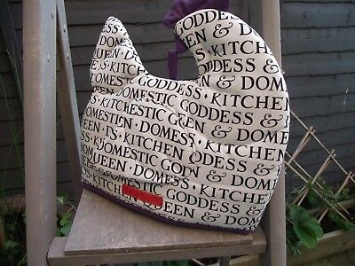 Emma Bridgewater Hen Design Tea Cosy Domestic Goddess Design White Black Purple
