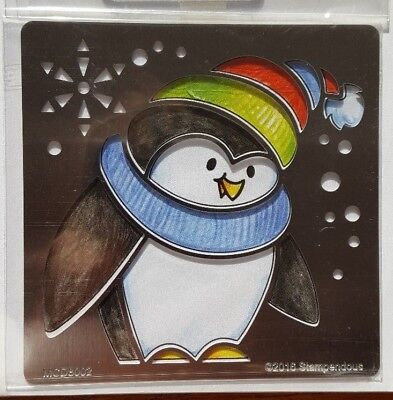 Penguin die with matching stencil & stamp by Stampendous