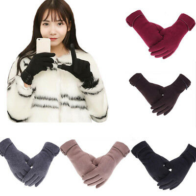 Fashion Womens Winter Warm PU Leather Driving Soft Lining Gloves Mittens Gifts