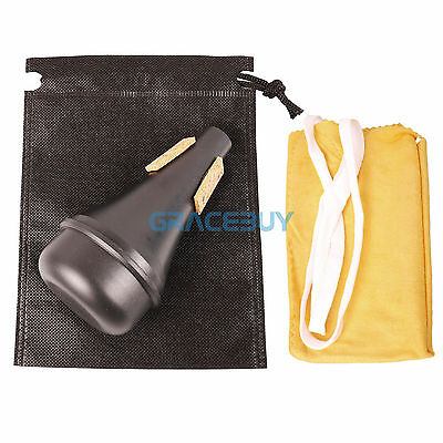Lightweight Trumpet Practice Mute Straight Mute Silencer & Bag & Cleaning Cloth