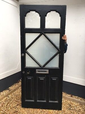 Large Victorian Edwardian Front Door Old Period Reclaimed Antique Pine Wood Salv
