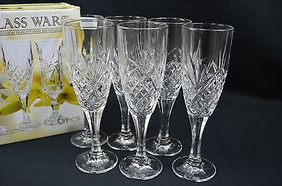 High Quality Glass Diamond  Cutting  Set of Six Champagne Cup