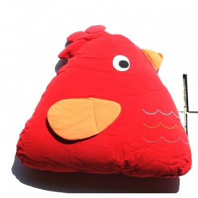 NEW Handmade 100% Cotton Chick Cuddling Cushion Red, Machine Washable 15x18x35cm