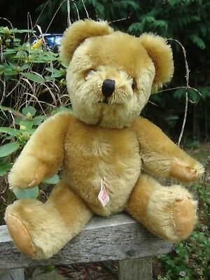 VINTAGE FARNELL GOLD PLUSH TEDDY BEAR WITH SQUEAKER 1960s