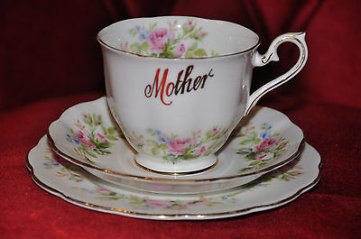 Pretty Royal Albert Cup Saucer & Plate Trio in 'Moss Rose' Pattern with 'Mother'