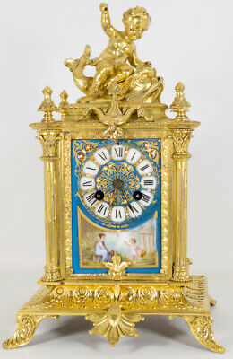 Antique French Sevres Porcelain Ormolu Clock c.1870
